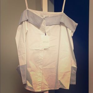 NWT English Factory off shoulder button down